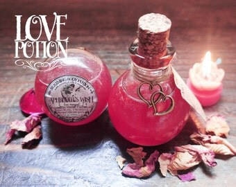 Love Potion-Oil Blend *Aphrodite's Wish* with Essential Oils & Crystals -Palmarosa, Ginger, Cardamom, Ylang Ylang, Rosemary and Rose Quartz