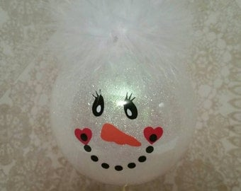 Plastic glitter snowman ornament, holiday ornament, Christmas tree ornament
