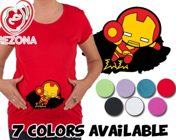 My Peeking Superhero Maternity, pregnancy Halloween New Iron Man Baby Avenger T-Shirt by Rezona Pregnancy Store, baby shower gift