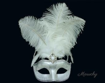 Silver Masquerade Mask, Silver Venetian Mask, Silver Masquerade Mask, Mask with Feathers for Masquerade Ball, Weddings, Prom Mardi Gras Hora