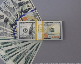 Prop Money New Style 100 Dollars Full Print Stack for Movie, TV, Video, Novelty and Photography
