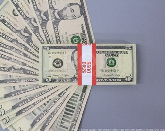 Prop Money New Style 5 Dollars Full Print Stack for Movie, TV, Video, Novelty and Photography