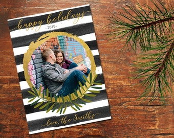 Black Stripe Mod Holiday Photo Card with Gold Accents (Digital Print for DIY or Print at Home)