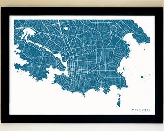 VICTORIA Map Art Print, Giclée Print, Victoria Wall Art