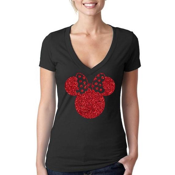 disney glitter minnie mouse head shirt minnie. Black Bedroom Furniture Sets. Home Design Ideas