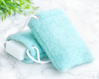 Soap Pouch - Mint Green Decor - Wool Soap Saver - Soap Scrub - Body Scrub - Bathroom Soap Holder - Shower Soap - Soap on a Rope - Soap Sack