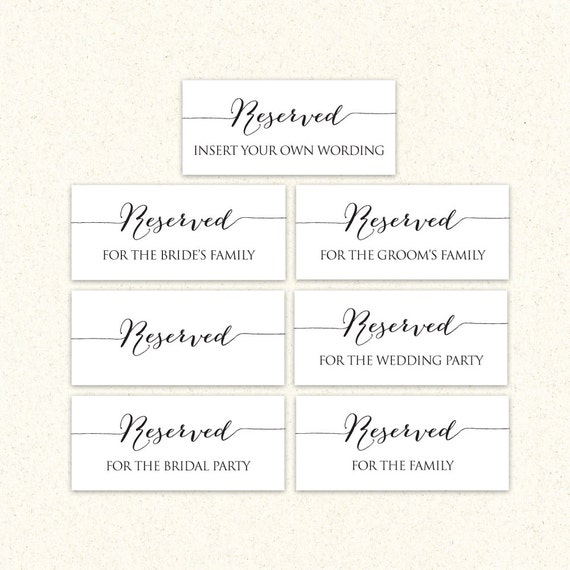 printable reserved wedding signs reserved by crossvinedesigns