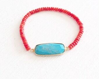 Coral Bracelet, Turquoise Bracelet, Red Coral Bracelet, Oean Bracelet, Turquoise Stone Bracelet, Turquoise and Coral Bracelet