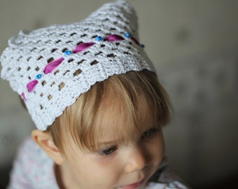 Crochet baby headband. Knitted baby bandana. Crochet Kerchief for hair
