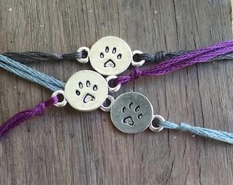 Pawprint Wish Bracelet, Word Charm Bracelet, Wish Charm, Paw Charm, Pet Jewelry, Dog Charm, Simple Bracelet, Cat Charm, Pawprint Charm