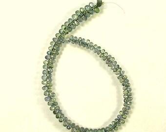 "Grey green Songea sapphire briolette beads AAA+  2.5-5mm 7.5"" strand"