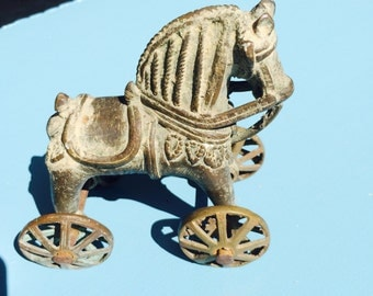 Iron and brass Horse on wheels