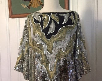 Vintage Sequin top/Boho/Gold and silver/SizeL