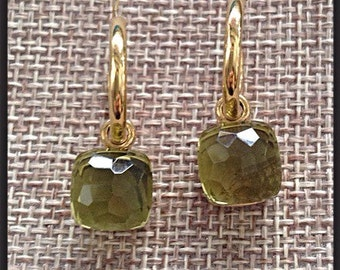 """style """"naked"""" wet Silver earrings in yellow gold quartz stones gold pin"""