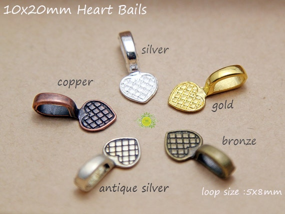100 glue on bails pendant bails jewelry bails heart shaped