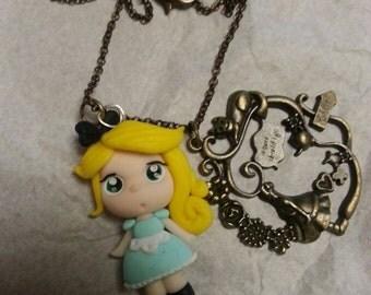 Bronze necklace Alice in wonderland theme