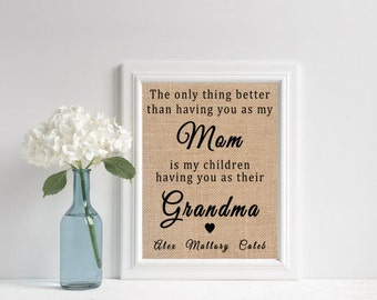 Mother Gift From Daughter // Grandmother Gift // Grandmother Mother Daughter // Personalized Grandma Gifts // Burlap Print // 11x14 or 8x10