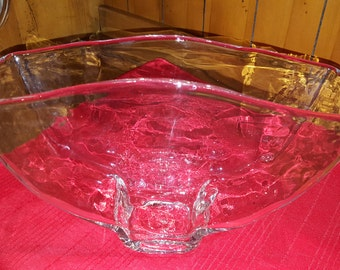 vintage  Clear Glass   blenko Hand Blown Large Vase with lots of waves in the glass which make it look like water