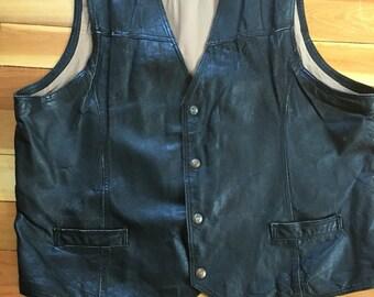 Mens Black Leather Vest-Vintage Black Leather Vest-Motorcycle Vest-Riding Vest- Distressed Leather Vest-XXL-XXX Large