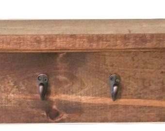 Rustic Wood Shelf Wall Hooks Cost Hanger Mail Storage Shelf Home Decor