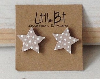 Wooden hand-painted star earrings
