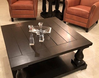 "Square Balustrade Leg Coffee Table in ""Kona"" Finish"
