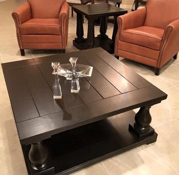 Square Balustrade Leg Coffee Table In Kona Finish