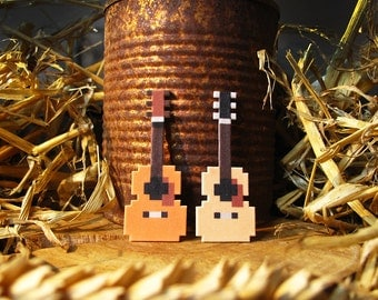 Western Guitar Bluegrass Pixelpin Brooch