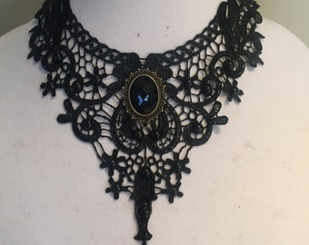 Black Lace Necklace, Gothic Style Necklace Elegant Necklace Black Choker Bib Necklace Handmade Jewelry