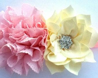 Spring headband - Summer Headband - Off white and Pink Headband - Miss Thangs