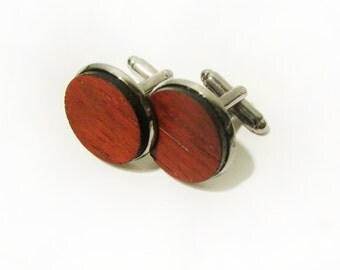 African Padauk Redwood Cuff Link Pair (2) - Handmade Wooden Cuff Link