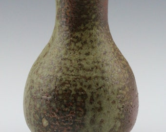 Kazegama Fired, Ash Glazed Ceramic Bud Vase