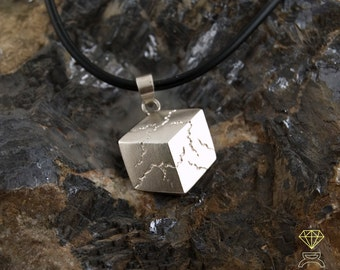 Silver Sacred Cube pendant, Sterling Silver Pendant,Silver Necklace