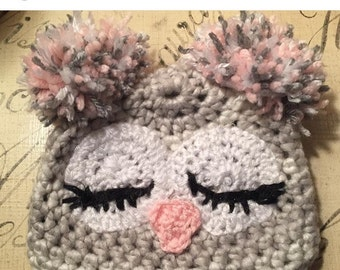 Baby sleeping owl hat