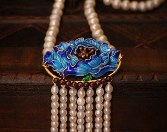 Cloisonné Collection - Midnight's Peony Pearl Tassel Oriental Necklace