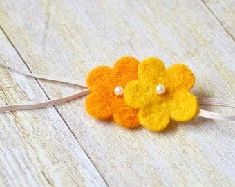 Wool/pearl flower headband - size 0-3 months