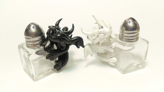 Polymer Clay Dragon Salt and Pepper Shaker Set