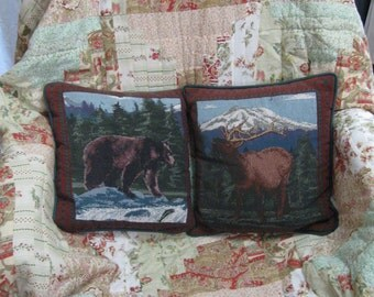 Vintage Set of 2 Outdoor Pillows, Man Cave Bear and Elk Throw Pillows, Nice Smaller Size Hunting Pillows for Man Cave