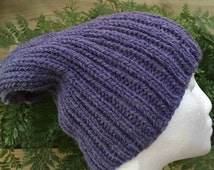 Knitted purple slouchy beanie, purple slouch, mens beanie, purple beanie, knitted slouchy beanie, mens slouchy, ladies slouchy,alpaca beanie