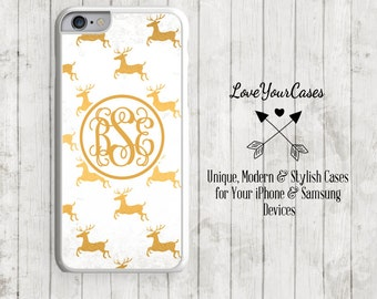 iPhone 6s Case iPhone 6 Case iPhone 6 Plus Case iPhone 5 Case iPhone 5c Case Personalized iPhone Case Reindeer Christmas Phone Case Gold 167