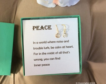 Sterling Silver Peace Earrings w/poem