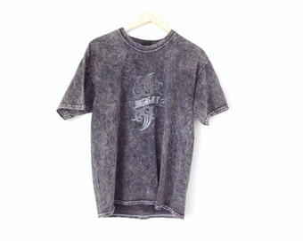 Vintage Hawaii surfer t-shirt . Grey lava dyed, 90's cool cotton t-shirt.