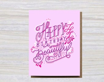 HAPPY BIRTHDAY BEAUTIFUL | A2 Size | Greeting Card | Birthday Card