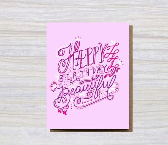 HAPPY BIRTHDAY BEAUTIFUL A2 Size Greeting Card Birthday