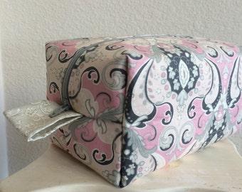 Knitting Project Bag, Box Bag, Boxy bag, Knitting Box Project Bag, Pink, Gray