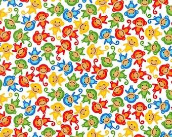Robert Kauffman - Urban Zoologie Minis - AAK-15311-204 Primary - Ann Kelle - Monkeys - White - Multi - Novelty - Animals - One More Yard