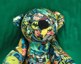Batman and Robin Patchwork Bear