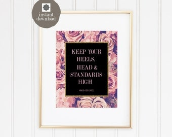 8x10 Coco Chanel Quote - Keep Your Heels, Head & Standards High (in Pink) - Office Print, INSTANT DOWNLOAD