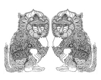 Pensive Baboon screen print poster 18 x 24