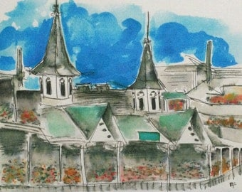 Churchill Downs // Print // 8 by 10 // Watercolor and ink // Twin Spires // Kentucky Derby